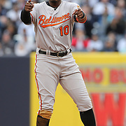 Adam Jones, Baltimore Orioles, after hitting a double during the New York Yankees V Baltimore Orioles home opening day at Yankee Stadium, The Bronx, New York. 7th April 2014. Photo Tim Clayton