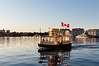 Yellow and green Harbour Ferries move pedestrians in Victoria from one port to another along the scenic Inner Harbour.
