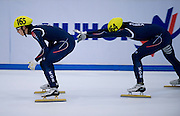 (L) Kim Byungjoon (165) and (R) Jung Jiwoong (164) both of South Korea compete in the 3000 meters Relay Men on day two of the 2013 ISU Short Track Speed Skating Junior World Championships at Torwar Ice Hall on February 23, 2013 in Warsaw, Poland...Poland, Warsaw, February 23, 2013...Picture also available in RAW (NEF) or TIFF format on special request...For editorial use only. Any commercial or promotional use requires permission...Photo by © Adam Nurkiewicz / Mediasport