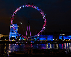 © Licensed to London News Pictures. 19/07/2012. London,UK.  London Eye Light Show.  EYE ON THE GAMES: Daley Thompson kicks off the world's first social media driven light show at the EDF Energy London Eye, powered by the UK's tweets on London 2012. The first EDF Energy of the Nation result reveals the nation is  62% positive about the Games with a week to go.    www.edfenergyofthenation.com  . Photo credit : Richard Isaac/LNP
