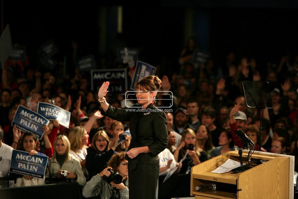 13th September 2008, Anchorage, Alaska.  Alaskan Governor, Sarah Palin speaks at a Republican rally. Palin is the US Republican Vice Presidential pick. PHOTO © JOHN CHAPPLE / REBEL IMAGES.tel: +1-310-570-910
