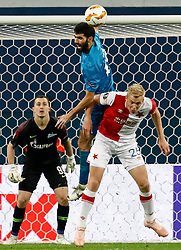 October 4, 2018 - Saint Petersburg, Russia - Luis Neto (C) of FC Zenit Saint Petersburg and Michal Frydrych of SK Slavia Prague vie for the ball during the Group C match of the UEFA Europa League between FC Zenit Saint Petersburg and SK Sparta Prague at Saint Petersburg Stadium on October 4, 2018 in Saint Petersburg, Russia. (Credit Image: © Mike Kireev/NurPhoto/ZUMA Press)