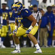 Delaware Linebacker CHARLES BELL (5) lines up in the second quarter of a week one game between the Delaware Blue Hens and the Delaware State Hornets, Thursday, Sept. 01, 2016 at Tubby Raymond Field at Delaware Stadium in Newark, DE.