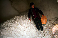 Cotton farmer Yan Changyu walks through a stockpile of roughly 3500 kilograms of cotton that she is storing in her home in the town of Huji in the province of Shandong, China, Friday, Jan. 28, 2011. Despite record cotton prices last year, some farmers like Mrs. Yan are storing their harvest of cotton and are holding out for even higher prices, hoping to help overcome higher costs of fertilizer and labor, which have both risen 20% in the past year..CREDIT:Keith Bedford for The Wall Street Journal.Slug: COTTON