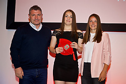 NEWPORT, WALES - Saturday, May 19, 2018: Anna Bebb is presented with her Under-16's cap by Osian Roberts (left) and Lauren Dykes (right) during the Football Association of Wales Under-16's Caps Presentation at the Celtic Manor Resort. (Pic by David Rawcliffe/Propaganda)