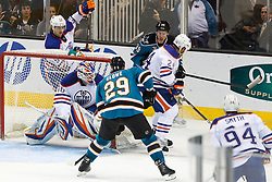 Mar 6, 2012; San Jose, CA, USA; San Jose Sharks left wing Ryane Clowe (29) scores a goal past Edmonton Oilers goalie Devan Dubnyk (40) during the second period at HP Pavilion. Mandatory Credit: Jason O. Watson-US PRESSWIRE