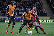 Sone Aluko (Hull City) during the Sky Bet Championship match between Hull City and Nottingham Forest at the KC Stadium, Kingston upon Hull, England on 15 March 2016. Photo by Mark P Doherty.