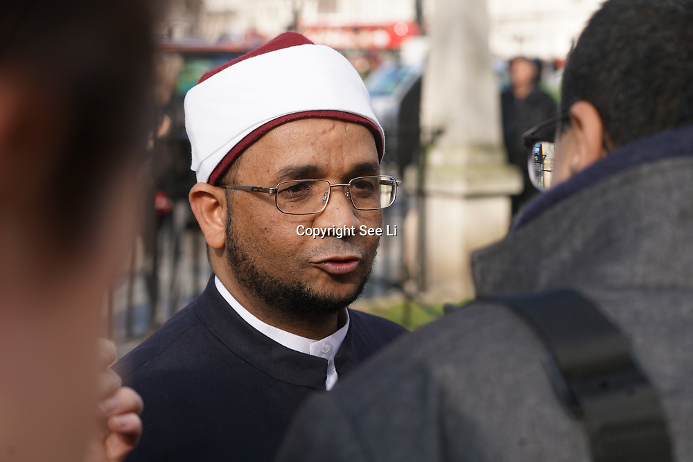 London,England,uk, 24th March 2017, Speaker Sheikh qari Asim<br />  vigil for the victims of the terror attacks at Westminster Abbey,London,UK. by See Li