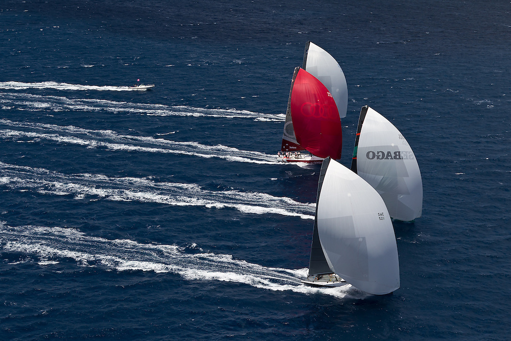 ITALY, Sardinia, Cagliari. 20th July 2011. AUDI MedCup.  Region of Sardinia Trophy. TP52s sail downwind.