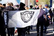NFL fans arrive at Tottenham Stadium during the International Series match between Oakland Raiders and Chicago Bears at Tottenham Hotspur Stadium, London, United Kingdom on 6 October 2019.
