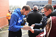 Craig Dawson (25) of West Bromwich Albion signing his autograph for fans on arrival at the Vitality Stadium before the Premier League match between Bournemouth and West Bromwich Albion at the Vitality Stadium, Bournemouth, England on 17 March 2018. Picture by Graham Hunt.