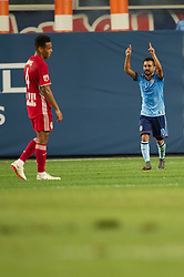 July 8, 2018 - Bronx, New York, United States - New York City midfielder MAXIMILIANO MORALEZ (10) celebrates a late goal during a regular season match at Yankee Stadium in Bronx, NY.  New York City FC defeats the New York Red Bulls 1 to 0 (Credit Image: © Mark Smith via ZUMA Wire)
