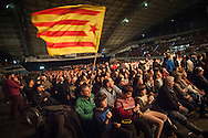 A man waves catalonian flag as people attend a tribute meeting to Basque politician Arnaldo Otegi, organized by Sortu pro-indpendence party, four days after he left prison. Donostia (Basque Country). March 5, 2016. Arnaldo Otegi is a politician, member of the Basque patriotic left movement, who was arrested in 2009, acused of trying to rebuild outlawed Batasuna pro-independence party, and was given a ten year sentence. In may 2012 Otegi's sentence was reduced to 6 1/2 years by the Spanish Supreme Court, as they decided he was not part of ETA. (Gari Garaialde / Bostok Photo)