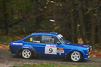 #9 James Sharrock / Stuart Faulds Ford Escort Mk2 Bolton-le-Moors Sharrocks.co.ukduring Neil Howard Memorial Stage Rally, and opening round of the 2015 Motorsport News Rally Championship.  at Oulton Park, Little Budworth, Cheshire, United Kingdom. November 07 2015. World Copyright Peter Taylor. Copy of publication required for printed pictures.  Every used picture is fee-liable. http://archive.petertaylor-photographic.co.uk