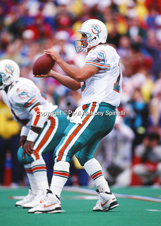 Miami Dolphins quarterback Dan Marino (13) catches a shotgun snap as he drops back to pass during the NFL football game against the Buffalo Bills on Oct. 9, 1994 in Orchard Park, N.Y. The Bills won the game 21-11. (©Paul Anthony Spinelli)
