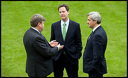 Lord Strathclyde the Leader of the House of Lords (L) talks to the Deputy Prime Minister Nick Clegg(C) and Chris Huhne, the Secretary of State for Energy and Climate Change in the garden of Downing Street, May 13, 2010. Photo By Andrew Parsons / i-Images