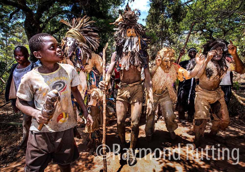 Malawi- Gule Wamkulu was a secret cult, involving a ritual dance practiced among the Chewa in Malawi, Zambia, and Mozambique. It was performed by members of the Nyau brotherhood, a secret society of initiated men. photo ©raymond rutting