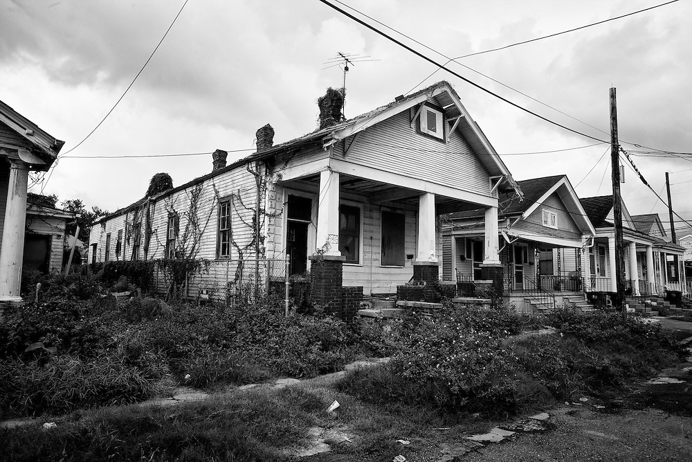 Abandoned house in MidCity, New Orleans - five years later after Hurricane Katrina.