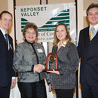 Paul and Fran Smith, presentors, Carrie and Ray Brouwer, Owners of Flowers and More and recepients of the Paul Smith Small Business of the Year Award at Neponset Valley Chamber of Commerce's 115th Annual Meeting and Awards Breakfast
