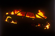 Flaming car, The Mother Festival, Somerset, 1995
