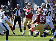 San Francisco 49ers quarterback Jimmy Garoppolo (10) passes the ball during an NFL football game against the Los Angeles Rams, Sunday, Oct. 13, 2019, in Los Angeles. The 49ers defeated the Rams 20-7. (Dylan Stewart/Image of Sport)