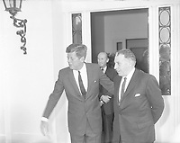 IND95218<br /> American President John Fitzgerald Kennedy (JFK)'s visit to Ireland, President Kennedy at the US Embassy in Dublin after talks with An Taoiseach Sean Lemass, The President then left for a visit to his ancestral home in Wexford, 27/06/1963  (Part of the Independent Newspapers Ireland/NLI Collection).