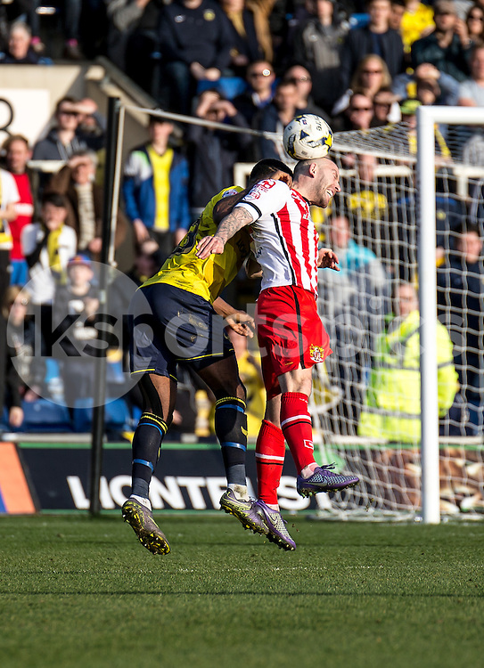 Keith Keane of Stevenage during the Sky Bet League 2 match between Oxford United and Stevenage at the Kassam Stadium, Oxford, England on the 25th March 2016. Photo by Liam McAvoy.