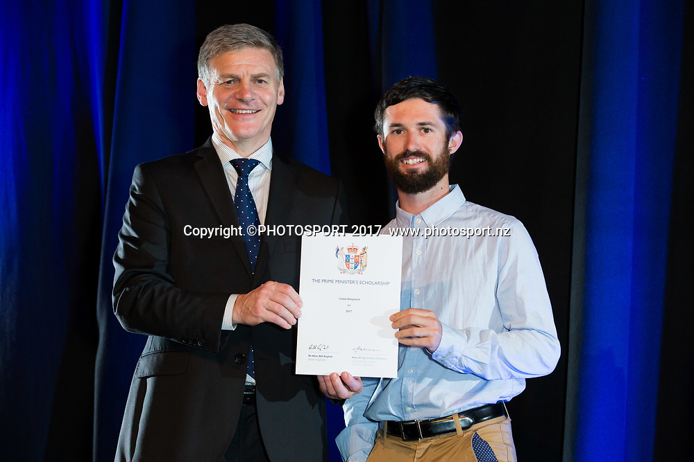 Caleb Shepherd with Rt Hon Bill English, 2017 Waikato Prime Minister's Scholarship Certificate Presentation Evening, Claudelands, Hamilton, New Zealand. Thursday 27 April 2017. © Copyright Photo: Stephen Barker / www.photosport.nz