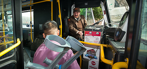 Images of passengers riding Muni Hybrid Bus | March 18, 2013