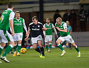 24th January 2018, Dens Park, Dundee, Scottish Premiership, Dundee versus Hibernian; Dundee's Paul McGowan and Hibernian's Dylan McGeouch