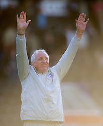 NOTTINGHAM, ENGLAND - Saturday, October 6, 2012: Tranmere Rovers' manager Ronnie Moore celebrates at the final whistle as his side beat Notts County 1-0 to remain top of the table during the Football League One match at Meadow Lane. (Pic by David Rawcliffe/Propaganda)