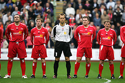LIVERPOOL, ENGLAND - SUNDAY MARCH 27th 2005: Liverpool Legends players line-up before the Tsunami Soccer Aid match at Anfield. L-R: Neil Ruddock, Ronnie Whelan, Sander Westerveld, Jan Mølby, Kenny Dalglish. (Pic by David Rawcliffe/Propaganda)