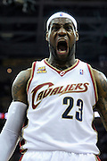 Apr 19, 2010; Cleveland, OH, USA; Cleveland Cavaliers forward LeBron James (23) celebrates after a dunk against the Chicago Bulls during the first period in game two in the first round of the 2010 NBA playoffs at Quicken Loans Arena. Mandatory Credit: Jason Miller-US PRESSWIRE