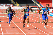 Omar McLeod (JAM) centre, dips to win the men's 110m hurdles in a time of 13.21 ahead of Freddie Crittenden (USA) right, and Daniel Roberts (USA) during the Birmingham Grand Prix, Sunday, Aug 18, 2019, in Birmingham, United Kingdom. (Steve Flynn/Image of Sport)