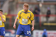 Accrington Stanley defender, on loan from Middlesbrough, Brad Halliday  during the Sky Bet League 2 match between York City and Accrington Stanley at Bootham Crescent, York, England on 28 November 2015. Photo by Simon Davies.