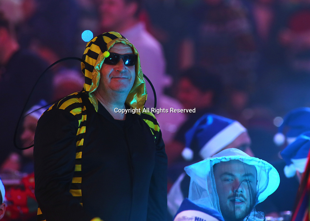 23.12.2016. Alexandra Palace, London, England. William Hill PDC World Darts Championship. Fans dressed as Bees and  Beekeepers prepare for the match between Mervyn King and Michael Smith