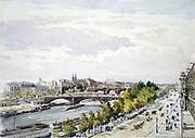 View of Paris, Salle d'Apollon,  Louvre, looking West'. Watercolour. Charles Claude Pyne (1802-1878) English landscape and genre painter.  River Seine Bridge Water France