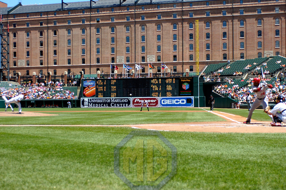 01 July 2007:  Baltimore Orioles pitcher Jeremy Guthrie (46) pitches to Los Angeles Angels designated hitter Gary Matthews Jr. (24) in the 2nd inning.  The Angels defeated the Orioles 4-3 at Camden Yards in Baltimore, MD.   ****For Editorial Use Only****