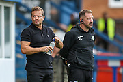 Forest Green Rovers manager, Mark Cooper and Forest Green Rovers assistant manager, Scott Lindsey during the EFL Sky Bet League 2 match between Bury and Forest Green Rovers at the JD Stadium, Bury, England on 18 August 2018.