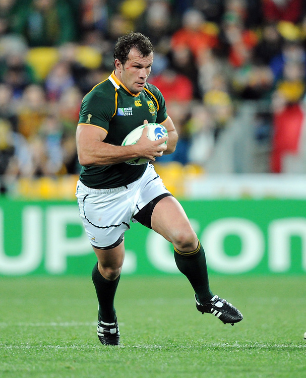 South Africa's Bismarck du Plessis against Australia in the Rugby World Cup quarter final match at Wellington Stadium, Wellington, New Zealand, Sunday, October 09, 2011. Credit:SNPA / Ross Setford