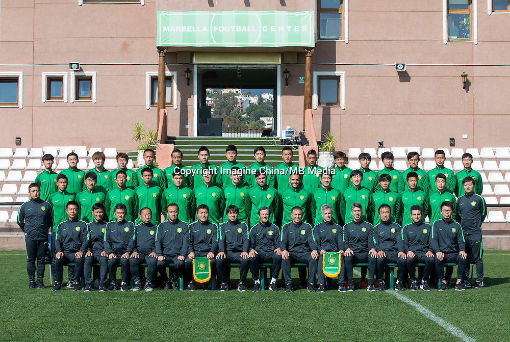Group shot of players of Beijing Sinobo Guoan F.C. for the 2017 Chinese Football Association Super League, in Benahavis, Marbella, Spain, 18 February 2017.