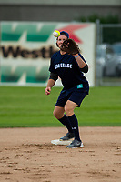 KELOWNA, CANADA - JUNE 28: NHL Nashville Predator Ryan Johansen catches the ball at second base during the opening charity game of the Home Base Slo-Pitch Tournament fundraiser for the Kelowna General Hospital Foundation JoeAnna's House on June 28, 2019 at Elk's Stadium in Kelowna, British Columbia, Canada.  (Photo by Marissa Baecker/Shoot the Breeze)