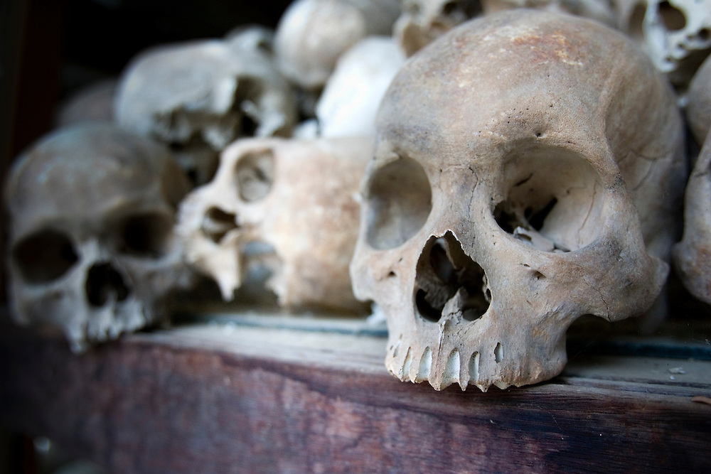 Human skulls form a display at the Toul Sleng Genocide Museum in Phnom Penh, Cambodia, March 13, 2005.  According to government sources about 500 people a day visit the museum where an estimated 14,000 people were tortured and later executed.  The building was a high school in Phnom Penh before being used as a prison by the Khmer Rouge in 1975.