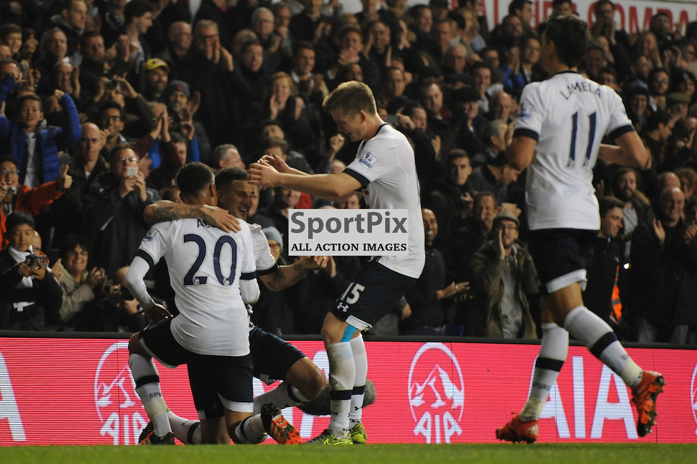Tottenhams Dele Alli celebrates scoring Tottenhams second goal with his teammates during the Tottenham v Aston Villa match in the Barclays Premier League on the 2nd November 2015
