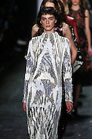 Agnes Sokolowska walks the runway wearing Vivienne Tam Fall 2016 during New York Fashion Week on February 15, 2016