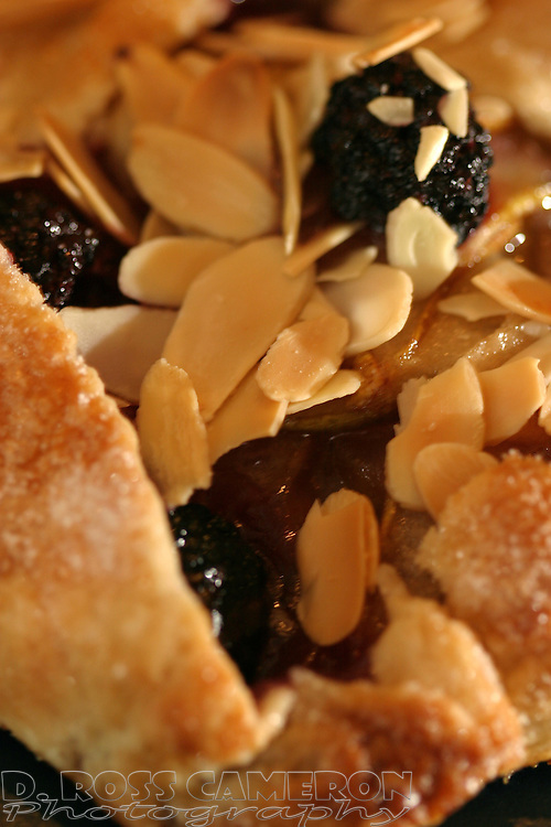 Closeup of a blackberry, pear and almond galette, hot from the oven, at the Blackberry Bistro in Oakland, Calif., Wednesday, Feb. 16, 2005. (Photo by D. Ross Cameron)