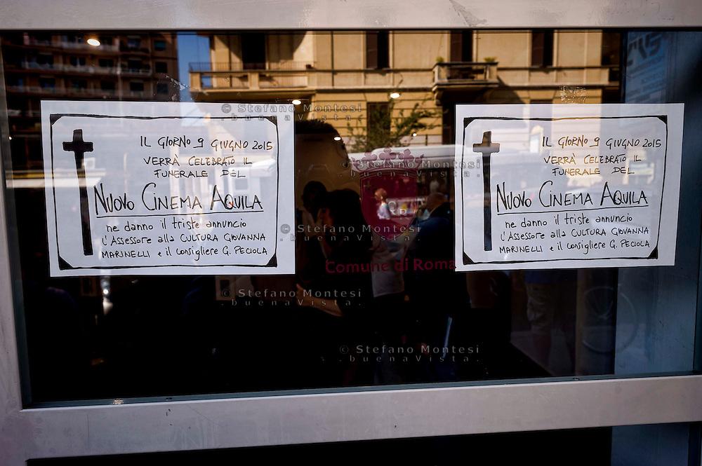 """Roma, 9 Giugno  2015<br /> Il comune di Roma revoca la concessione del Nuovo Cinema Aquila, storico cinema del quartiere Pigneto, con tre anni di anticipo rispetto alla scadenza del regolare contratto di concessione e i lavoratori del cinema verranno licenziati.<br /> Il Nuovo Cinema Aquila è l'unico cinema che a Roma  a proiettato il film di Sabina Guzzanti """"La trattativa Stato-Mafia"""".  <br /> Rome, June 9, 2015<br /> The municipality of Rome revoked the grant of the Nuovo Cinema Aquila, the historic movie theater of Pigneto, with three years in advance of the expiry of the concession contract and regular employees of the cinema will be laid off.<br /> The Nuovo Cinema Aquila is the only cinema in Rome to screen the film by Sabina Guzzanti """"Negotiation State-Mafia""""."""