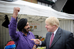 London Mayor Boris Johnson  campaigning in Acton, West London, for his Mayoral Campaign, Saturday March 31, 2012. Photo By Andrew Parsons/I-images