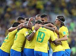 MOSCOW, June 27, 2018  Players of Brazil celebrate Paulinho's goal during the 2018 FIFA World Cup Group E match between Brazil and Serbia in Moscow, Russia, June 27, 2018. (Credit Image: © Cao Can/Xinhua via ZUMA Wire)