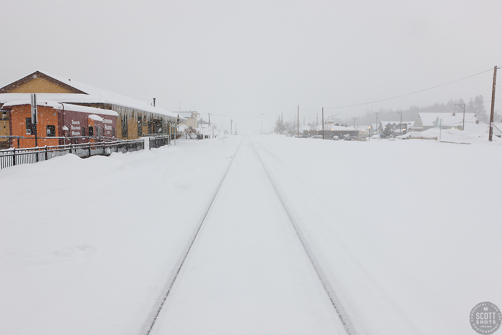 """Snowy Truckee Train Tracks 2"" - These snow covered train tracks were photographed in the early morning in Downtown Truckee, California."